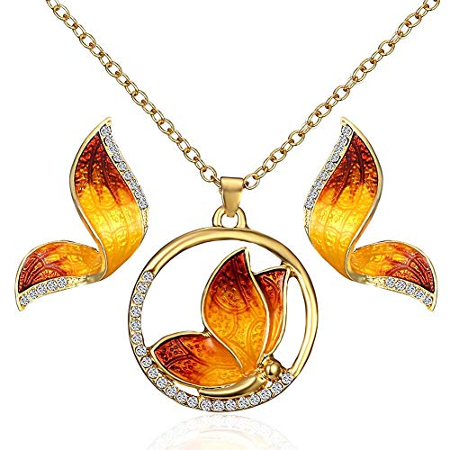 XIANGAI Elegant Butterfly Necklace Earrings Set Crystal Pendant Necklace Ladies Glamour Jewelry Charming Decoration,Colour:1 (Color : 3)