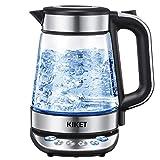 Glas Wasserkocher mit Temperatureinstellung | Teekocher | 100% BPA FREI | Warmhaltefunktion (2 Stunden) | Blau LED Beleuchtung | Herausnehmbarer Kalkfilter | 2200W | 1,7 Liter
