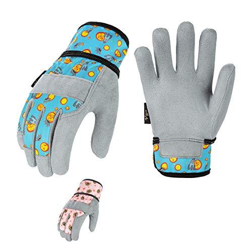 Vgo... 2 Paare Kinder 2-4 J.A, Kinderarbeits- und Gartenhandschuhe, weiche Mikrofaserhandfläche, Handrücken aus Flex, atmungsaktiv (Kid-XS, Rosa & Blau, KID-MF3561)