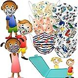 MVT - 60x Mascarilla Infantil Protectora Higiénica Desechable UNE 0064-2:20 3 capas Colores y Estampados Variados + Mask Case color aleatorio