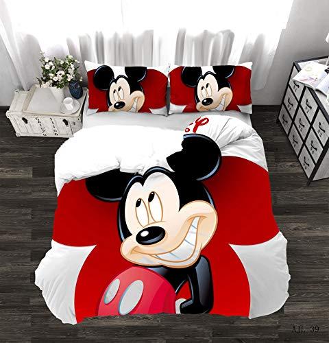 DAMEILI Disney Mickey y Minnie Mouse Juego de cama, funda de edredón y funda de almohada, microfibra, impresión digital 3D, 2/3 piezas (C,135 x 200 cm)