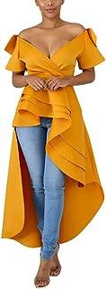 High Low Tops for Women - Ruffle Bodycon Peplum Asymmetrical Tunic Shirt Dresses