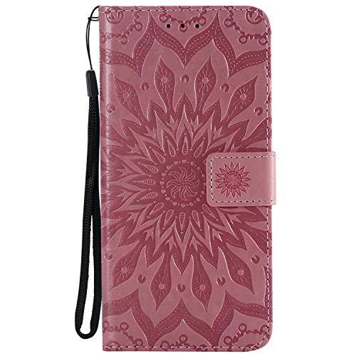 KKEIKO Hülle für Huawei Honor 8X, PU Leder Brieftasche Schutzhülle Klapphülle, Sun Blumen Design Stoßfest Handyhülle für Huawei Honor 8X - Rosa