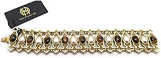 House of Harlow 1960 Lady Of Grace Goldtone Brown & Gray Stones Bracelet 7