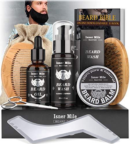 Kit Barba Cuidado para Hombre Crecimiento, Aseo y Recorte - Aceite Barba, Cera Bálsamo Barba, Cepillo Barba, Peine Barba, Tijeras Barba, Mejor Regalo Perfecto Originales para Hombre