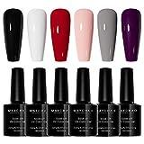 MAYCHAO Gel Nail Polish Set 6 Colors, Soak Off UV LED Gel Nail