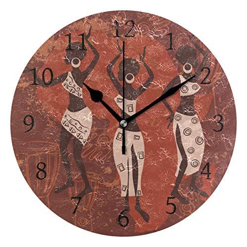 Ahomy Afrika Frauen Tanzende Zahlen Wanduhr 24 cm Runde Uhr geräuschlos Nicht tickend batteriebetrieben leicht ablesbar für Zuhause Büro Schule