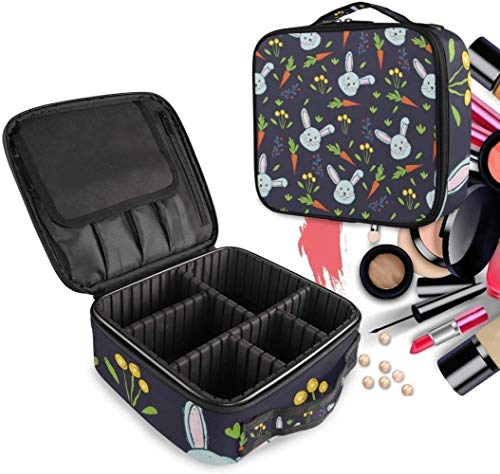 Cosmétique HZYDD Lapin Daisy Carotte Bleu Make Up Bag Trousse de Toilette Zipper Sacs de Maquillage Organisateur Poche for Compartiment Femmes Filles Gratuit