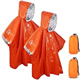 SAINUOD Emergency Survival Poncho Heat Reflective Blanket Poncho Waterproof Thermal Emergency Raincoat Keeps You Dry and Warm During Camping Hiking Auto (2pck)