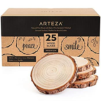Arteza Natural Wood Slices 25 Pieces 3.5-4 Inch Diameter 0.4 Inch Thickness Round Wood Discs for Crafts Centerpieces & Paintings Sanded & Polished Circles