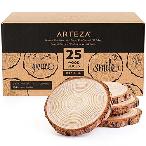 Arteza Natural Wood Slices, 25 Pieces, 3.5-4 Inch Diameter, 0.4 Inch Thickness, Round Wood Discs for Crafts, Centerpieces & Paintings, Sanded & Polished Circles