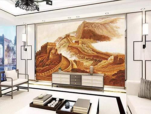Papel tapiz Mural 3D China Gran Muralla HD Pintura al óleo Mural 3D Sala de estar Sofá TV Pared Dormitorio Papel tapiz(W)140x(H)100cm