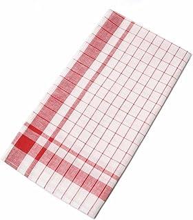 日本製 綿麻グラスタオル 綿50% 麻50% 40×72cm(赤格子6枚入り)