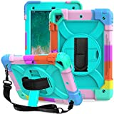 LTROP iPad 6th Generation Case,iPad 5th Generation Case,iPad 9.7 Case,iPad Air 2 Case for Kids,3-Layer Shockproof Case with Pencil Holder/Swivel Stand/Hand Strap for iPad 2018/2017 9.7 inch,Teal Blue
