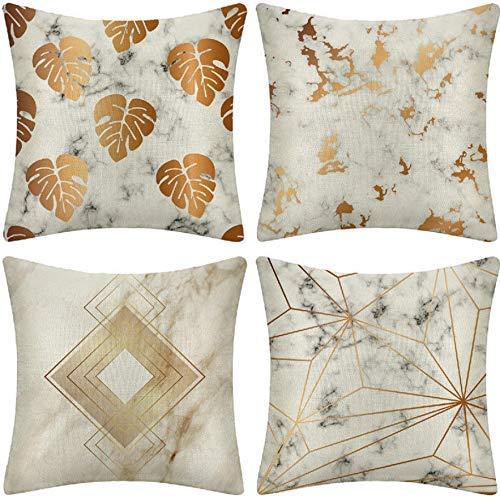 ZLXIONG Juego de 4 fundas de cojín cuadradas de lino de mármol dorado para decoración del hogar, sofá, coche, dormitorio, 45 x 45 cm