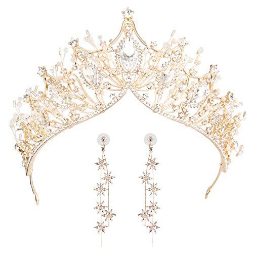 Zooma Kristallkrone Diadem, Strass Krone Tiara Kristalle Prinzessin Krone Braut Tiara Diadem für Hochzeit Abschlussbälle (Golden (Krone + Ohrringe))