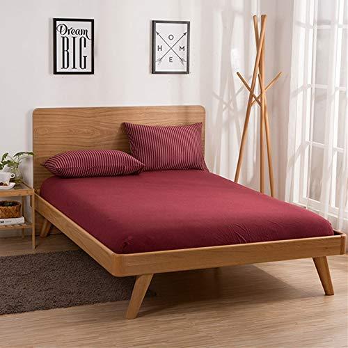 haiba Protector de colchón impermeable transpirable con correas de esquina, carmesí, 180 x 220 cm+25 cm
