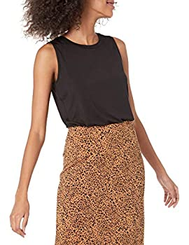 Amazon Essentials Women s Relaxed Fit Sleeveless Muscle Tank Black Large