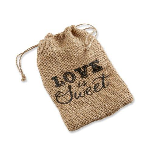 "Kate Aspen""Love is Sweet"" Burlap Drawstring Favor Bag, Set of 12"