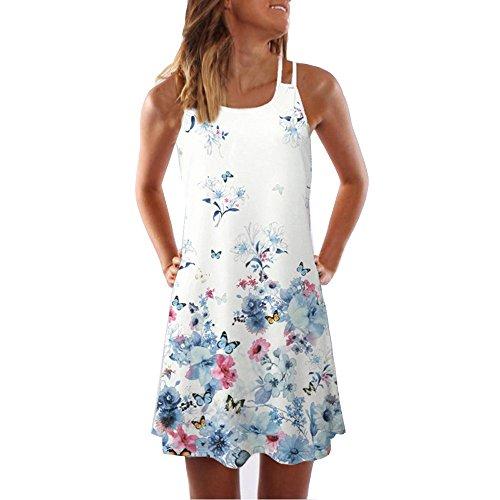 SANFASHION Frauen Mode Sommer Sleeveless Strand Printed Short Mini Dress (L, AWeiß)