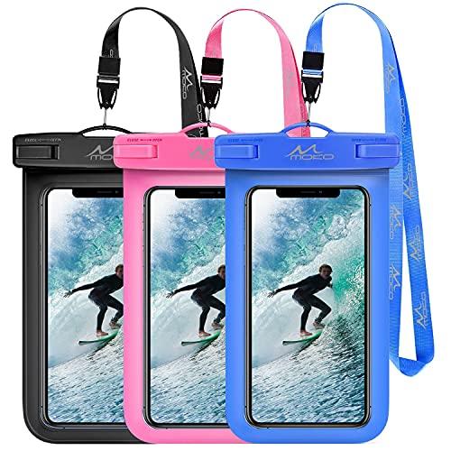 MoKo Funda Universal Impermeable para Móvil, [3PZS] Bolsa de Teléfono con Correa hasta 6' para iPhone 12/12 mini/12 Pro/12 Promax/11/11 Pro/11ProMax/Galaxy S10 Plus/S10e/Samsung S21 - Azul+Negro+Rosa