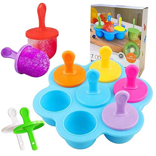 Eisförmchen Popsicle Formen,Mini Eisformen Silikonform,7 Mulden Eisformen Eis am Stiel Silikon,DIY EIS-Pop-Form,mit bunten Kunststoff-Sticks,Kunststoffstäbchen zum Einfrieren von Obst oder Joghurt