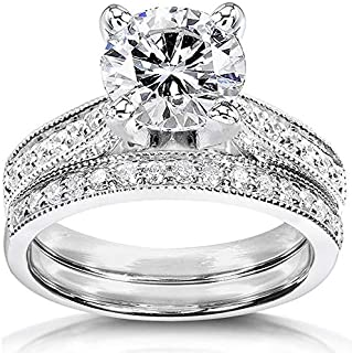 Near-Colorless (F-G) Moissanite Bridal Set 2 1/3 CTW 14k White Gold