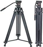 Sistema de trípode de Video, Cayer 72 Pulgadas BV30L-Camcorder Sistema de trípode Pierna de Aluminio, K3 Fluid Head, Carga máxima 13.2 LB, DSLR Shooting, Plus 1 Bonus Quick Release Plate