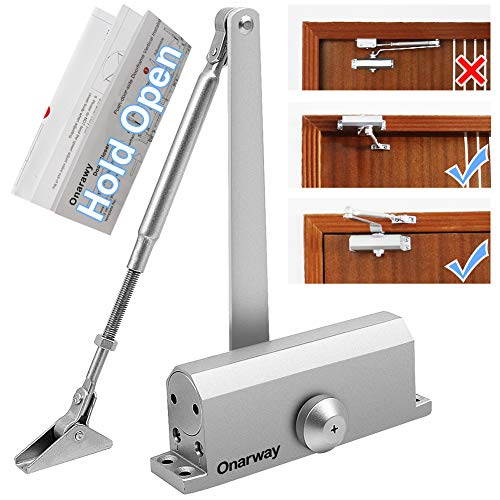 Onarway Automatic Door Closer Hold Open Size 3 Spring Hydraulic Door Closure Aluminum Alloy Body, for Residential and Commercial Use, for 45~60kg Door, Not Applies Parallel Installation
