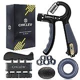 Chiclew Musculation Main Kit de 5, Entraînement de Musculation Avant Bras, Pince Poignée 5-60 kg Ajustable Comptage, Exerciseur de Doigts, Étireur de Doigts, Anneau d'exercice et Balle Anti-Stress