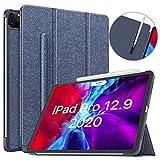 MoKo Hülle Kompatibel mit iPad Pro 12.9 4. Generation 2020/2018, Schutzhülle Elastisch Stifthalter für Aufladung Smart Cover Ständer Hülle Auto Schlaf/Aufwach für iPad Pro 12.9 2020/2018 - Indigo