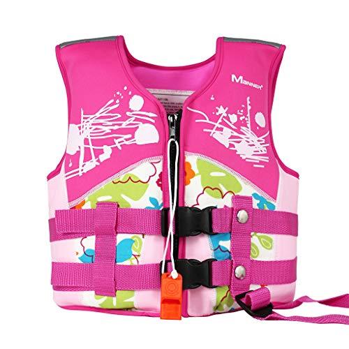 Kinder Schwimmweste Jungen Mädchen Schwimmjacke Neopren Badeanzüge Bademode Schwimmen Jacke Assist Trainer Weste, L/7-10 Jahre