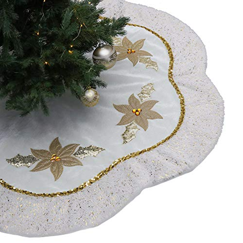 Valery Madelyn 48 inch Elegant White Gold Christmas Tree Skirt Decorations with Christmas Flower Pattern and Faux Fur Trim, Themed with Christmas Tree Decor (Not Included)