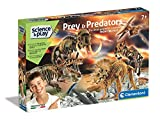 Clementoni - 97857 - Science & Play Lab - Prey and Predators - excavaciones fósiles 5 en 1 - Juego científico para excavar y Montar Dinosaurios a Partir de 7 años - Fabricado en Italia