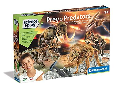 Clementoni- Science & Play Lab-Prey And Predators, Dinosauri Kit fossili da Scavare e assemblare, Gioco scientifico 7 Anni-Made in Italy, Multicolore, 97857