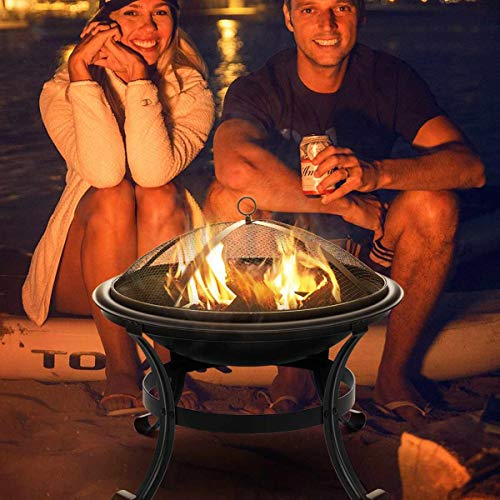 CATLXC Fire Pits Outdoor Wood Burning, Garden Metal Charcoal Firepit for Camping Fishing Burner Fire Bowl Multifunction Removable Stove
