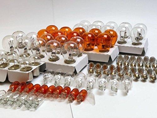 90x Stück - WERKSTATTWARE 12V KFZ Beleuchtung (10x P21/5W 10x P21W 10x PY21W 10x R10W 10x W16W 10x W5W 10x WY5W 10x C5W 10x C10W) Glühlampe Glassockellampe Glühbirne Soffitte Autolampen INION