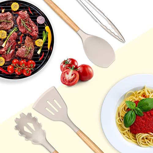 Umite Chef Kitchen Cooking Utensils Set, 33 pcs Non-Stick Silicone Cooking Kitchen Utensils Spatula Set with Holder, Wooden Handle Silicone Kitchen Gadgets Utensil Set (Khaki)