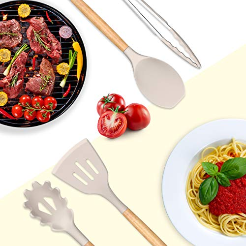 Umite Chef Kitchen Cooking Utensils Set, 24 pcs Non-stick Silicone Cooking Kitchen Utensils Spatula Set with Holder, Wooden Handle Heat Resistant Silicone Kitchen Gadgets Utensil Set (Khaki)