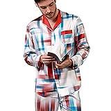 Pijamas, Conjunto de Pijama para Hombre Ropa de Dormir de Manga Larga Tops y Pantalones / Partes Inferiores con Botones Conjunto clásico de 100% Seda de Morera para el hogar Otoño e Invierno L, XL
