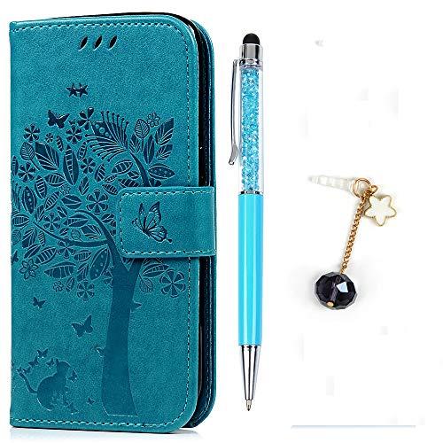 Funda para Samsung Galaxy S7, Libro de Cuero Impresión de Suave PU Premium e Silicone TPU Carcasa , Correa de mano, Soporte Plegable, Ranuras para Tarjetas y Billetera, Cierre Magnético Árbol Azul