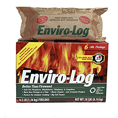 Enviro-Log Earth Friendly Fire Log, Burns Cleaner Than Wood. (3 Box of 3 lb Pack of 6)