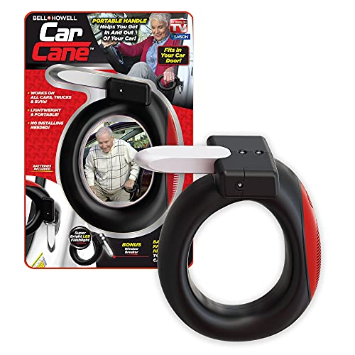 Emson 9814 Limited Edition Round Car Cane Mobility & Standing Aid with Built-in Flashlight, Black