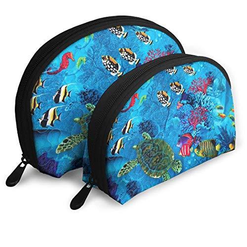 XCNGG Aufbewahrungstasche Fisch Meeresboden Organismen Kunst Tragbare Reise Make-up Handtasche Wasserdichte Toilettenartikel Organizer Aufbewahrungstaschen