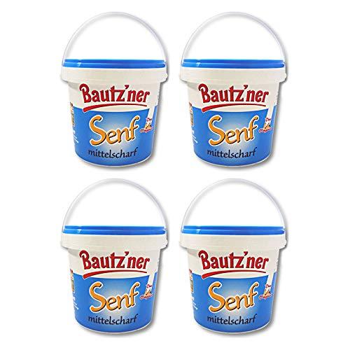4er Pack Bautzner Senf mittelscharf im Eimer (4 x 1000 ml) Bautzner Spezialität, Senfeimer