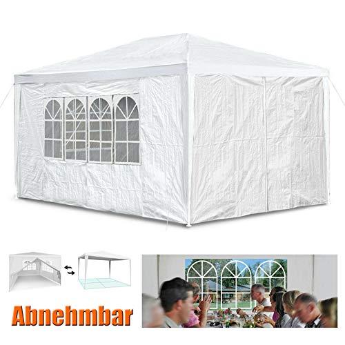 Huini 3x4m Pavillon im Freien Party Hochzeit BBQ Zelt mit 4 Seitenwänden einfach entfernen Montage Markise Gartenpavillon - Weiß