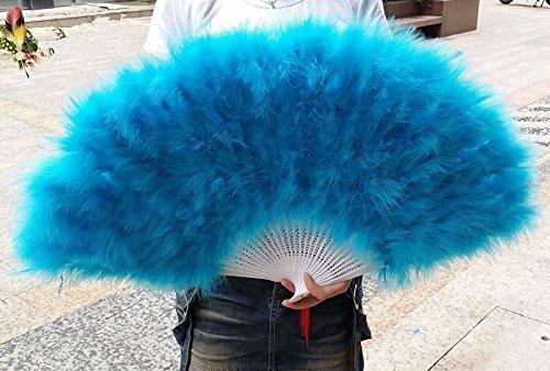 80*45cm Large Burlesque Dance feather fan Bridal Bouquet Turquoise