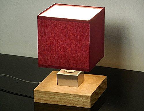 Lampe de table - Wero Design Vigo-031B (Bordeaux) Lampe de table, lampe de chevet, bois, abat-jour en tissu