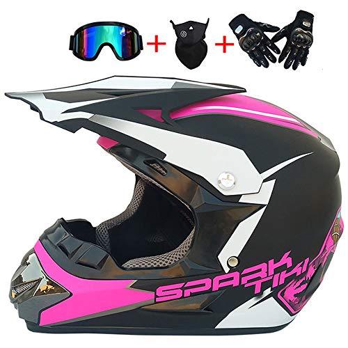 Adulto Rosa Casco Cross Enduro Scooter Descenso Racing Motocicleta Quad Downhill Protecciones Moto,S BMAQ Casco Motocross Ni/ño Com Gafas