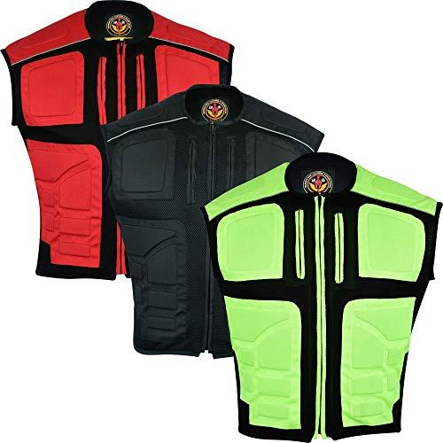 Warrior Gears Chaleco de malla textil para hombre, chaleco de alta visibilidad, chaleco de alta visibilidad, chaleco reflectante para hombre, armadura acolchada de goma protectora